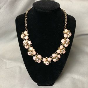 Pink and gold floral statement necklace